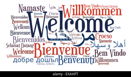Welcome word in different languages isolated on white background - Stock Photo