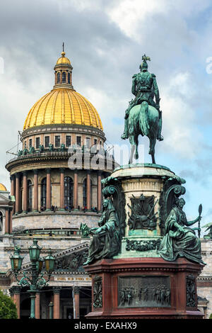 Golden dome of St. Isaac's Cathedral built in 1818 and the equestrian statue of Tsar Nicholas dated 1859, St. Petersburg, - Stock Photo