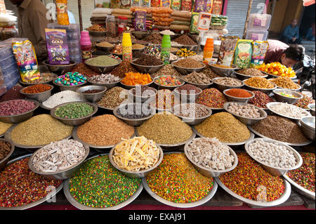 Spice and sweet stall in the market, Ahmedabad, Gujarat, India, Asia - Stock Photo