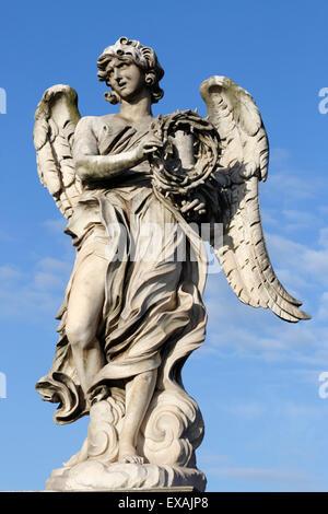 Bernini's breezy maniac angels statue on the Ponte Sant'Angelo, Rome, Lazio, Italy, Europe - Stock Photo