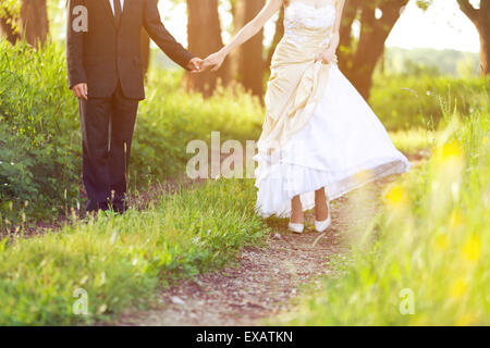 Bride and groom, walk in the nature - Stock Photo