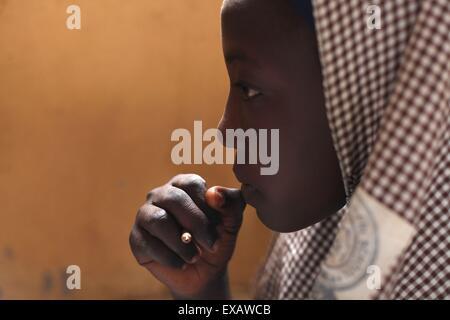 Islamic school in Abuja during examen session - Stock Photo