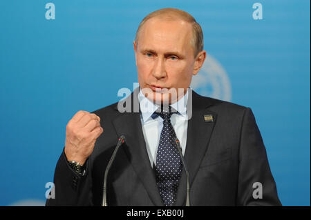 Ufa, Russia. 10th July, 2015. Russian president Vladimir Putin holds a press conference after the Shanghai Cooperation - Stock Photo