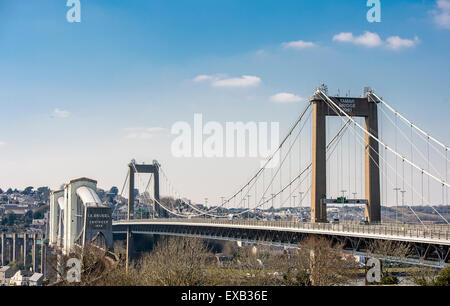 Tamar Bridge and The Royal Albert Bridge crossing the River Tamar in south west England, linking Devon and Cornwall. - Stock Photo