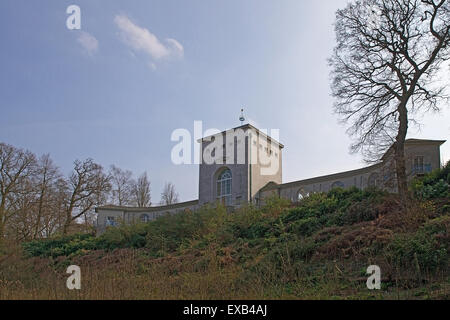 Commonwealth Air Forces Memorial - north facade of chapel with astral crown above, east and west lookouts; at image - Stock Photo