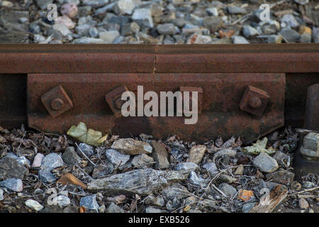 joiner for a railway track with nuts and bolts - Stock Photo