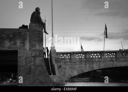 Helvetia statue on Mittlere Brucke, Basel, Switzerland - Stock Photo