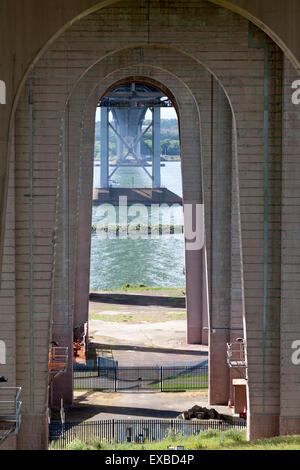 Underneath the arches of the Forth Road Bridge, North Queensferry, Fife - Stock Photo