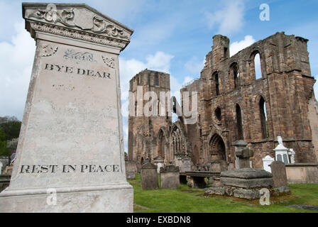 The Elgin Cathedral with cemetery in Scotland - Stock Photo