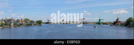 Panoramic view on windmills of Zaanse Schans in Netherlands - Stock Photo