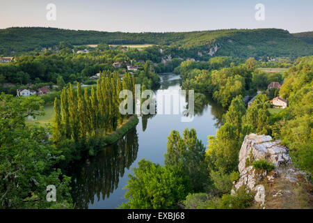 Evening view over River Lot from Saint-Cirq-Lapopie, Vallee du Lot, Midi-Pyrenees, France - Stock Photo