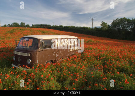 Marlex designs Bus in poppy field - Stock Photo