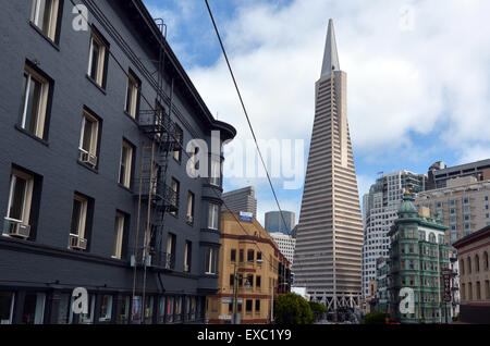 SAN FRANCISCO - MAY 20 2015:Transamerica Pyramid in San Francisco financial district.It's observation deck on the - Stock Photo