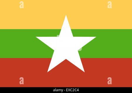 flag of Myanmar (Birma) - Stock Photo