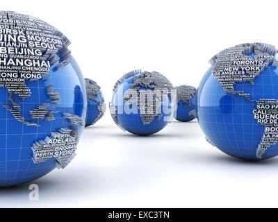 Globes with names of major cities in the world - Stock Photo