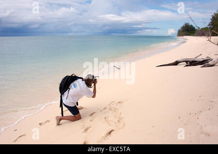 man walking along the sandy shores of the Indian Ocean, Denis island, Seychelles - Stock Photo