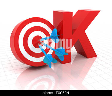 Okay symbol with target, 3d render - Stock Photo