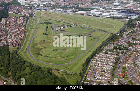 aerial view of Aintree Racecourse in Liverpool, UK, home the Grand National horse race - Stock Photo