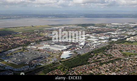 aerial view of the Jaguar Land Rover car manufacturing plant at Halewood, Liverpool, UK - Stock Photo