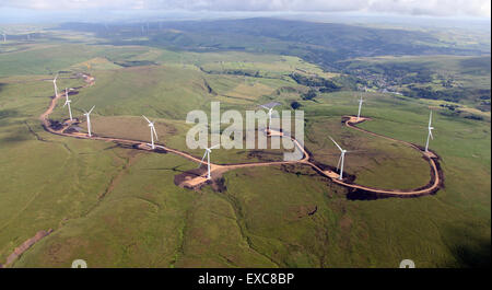 aerial view of a wind farm under construction in Northern England, UK - Stock Photo