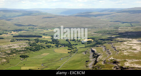aerial view of Ribblehead Viaduct (in the distance there!) on the Settle to Carlisle railway route, UK - Stock Photo