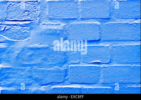Part of a blue brick wall as a background image - Stock Photo