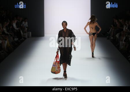 Berlin, Germany. 09th July, 2015. Mercedes-Benz Fashion Week Spring/Summer 2016 in Berlin. A model presents collection - Stock Photo