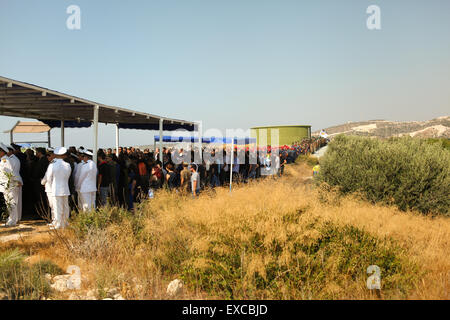 Many people gathered in Evangelos Florakis Base to honnor the victims of the explosion. The munitions, confiscated - Stock Photo