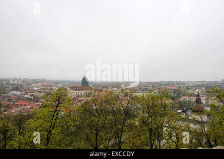 View on the Vilnius Old Town from the Gediminas Hill. - Stock Photo