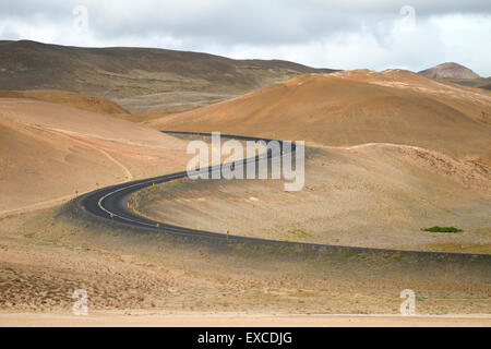 Famous ring road around Iceland through volcanic area - Stock Photo