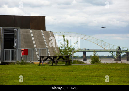 Runcorn is an industrial town and cargo port in Halton, Cheshire, UK.  Pictured Wigg Island, also known as Wigg - Stock Photo