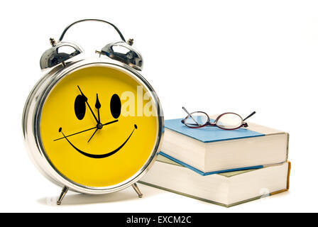 Back To School Concept With Books And Happy Clock Isolated - Stock Photo