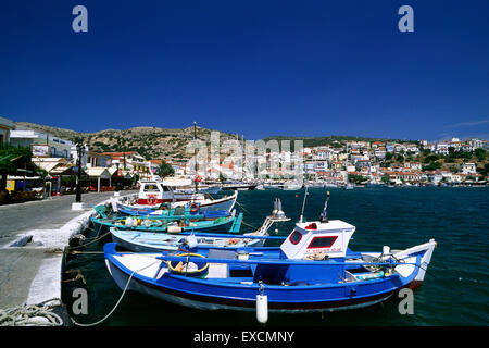 greece, northeastern aegean islands, samos, pythagorion harbor - Stock Photo