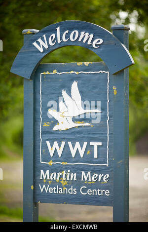 Pictures around Southport   Pictured Welcome to Martin Mere Wetlands Centre sign  WWT Martin Mere is a wetland nature - Stock Photo