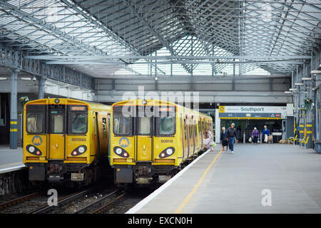 Pictures around Southport   Pictured  Southport merseyrail class 508 and 507  trains   The Liverpool line was originally - Stock Photo