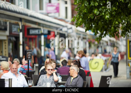 Pictures around Southport   Pictured Glazed canopies on shop frontages at Lord Street is the main shopping street - Stock Photo