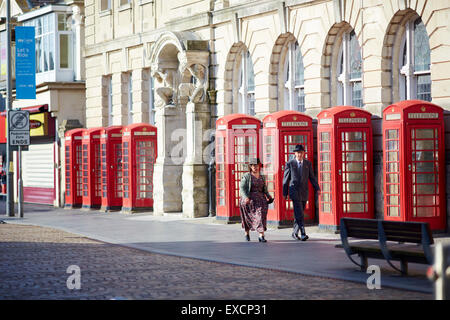 the old post office in Blackpool. Located in Blackpool, Lancashire, England, UK.  The red telephone box, a telephone - Stock Photo
