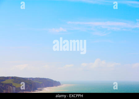 Panoramic view of village Etretat in Haute Normandie, France - Stock Photo