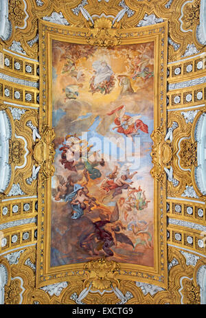 Roem - The fresco The Fall of the Rebelious Angels on the vault of nave Brandi in Basilica dei Santi Ambrogio e - Stock Photo
