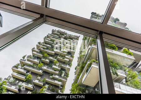MILAN , ITALY - 03 MAY 2015 : Bosco Verticale. two prestigious buildings, which grow more than 1,000 specimens of - Stock Photo
