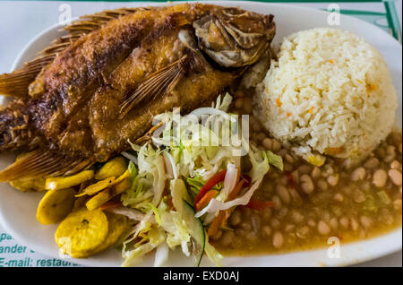 A typical meal of fried fish and coconut rice in the Caribbean coastal region of Colombia. - Stock Photo