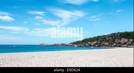 Seychelles,La Digue,Grand Anse beach,paradise, picture perfect,empty beach - Stock Photo