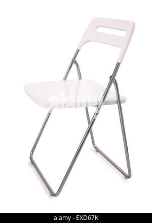 White plastic folding chair isolated on white - Stock Photo