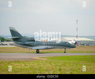 Luxembourg Registered Dassault Falcon 50EX Business Jet Aircraft.  SCO 9930 - Stock Photo
