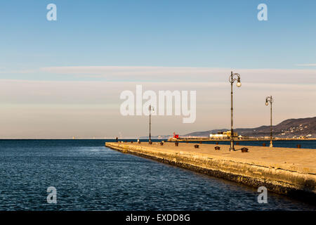 sun is shining on the docks of Trieste, Italy - Stock Photo