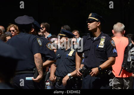 nypd cops police in street new york - Stock Photo
