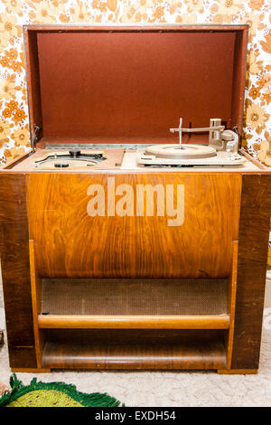 Vintage 1950's Soundsales radiogram, with the lid open showing record player - Stock Photo