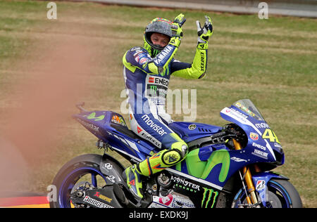 Hohenstein-Ernstthal, Germany. 12th July, 2015. Third-placed Italian MotoGP rider Valentino Rossi of Movistar Yamaha - Stock Photo