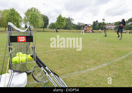 Hampstead Heath, London, UK. 12th July 2015. People playing T3 three a side tennis on Hampstead Heath © Matthew - Stock Photo