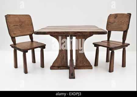 Hand made wooden furniture, isolated on white - Stock Photo